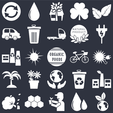 Set Of 25 simple editable icons such as Eco energy, Ecological energy source, Plug, Drop, Wind bending Tree, Dust bin, Recycle Recycling factory on black background, web UI icon pack