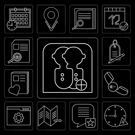 Set Of 13 simple editable icons such as User, Stopwatch, Speech bubble, Map, Browser, Phone call, Notebook, Price tag, File on black background