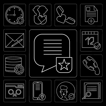 Set Of 13 simple editable icons such as Speech bubble, Notepad, User, Smartphone, Browser, Phone call, Database, Calendar, Envelope on black background 矢量图像