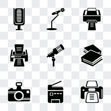 Set Of 9 simple transparency icons such as Printer tool, Printer, Photo camera, Book closed of white cover, Microphone voice, with printed paper, printing squares, for