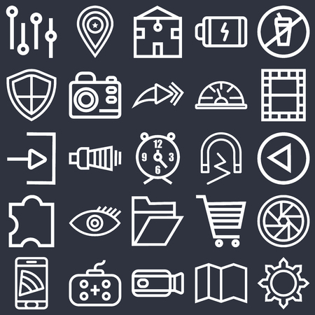 Set Of 25 icons such as Settings, Map, Video camera, Gamepad, Smartphone, Video, Magnet, Folder, Puzzle, Shield, Home, Placeholder on black background, web UI editable icon pack Stock Illustratie