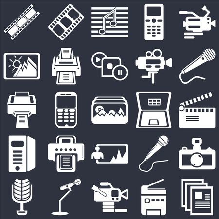 Set Of 25 simple editable icons such as Movie clapper, Video camera from side view, Microphone for singers, Printer printing squares, Image, web UI icon pack, pixel perfect