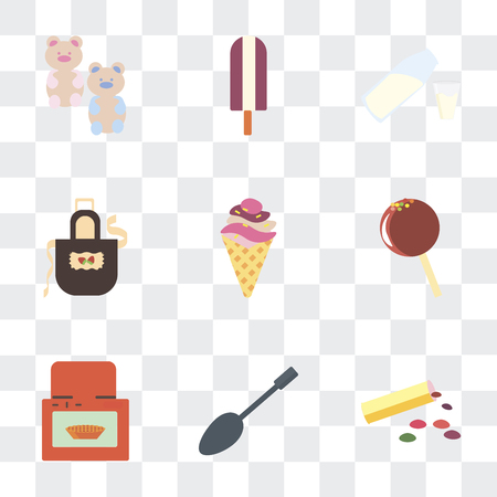 Set Of 9 simple transparency icons such as Bonbon, Spoons, Oven, Lollipop, Ice cream, Apron, Milk, Gummy bear, can be used for mobile, pixel perfect vector icon pack on transparent