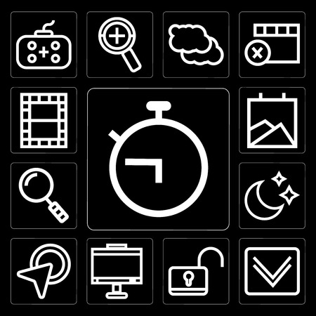 Set Of 13 simple editable icons such as Timer, Down arrow, Unlock, Monitor, Cursor, Moon, Search, Gallery, Video on black background Stock Illustratie
