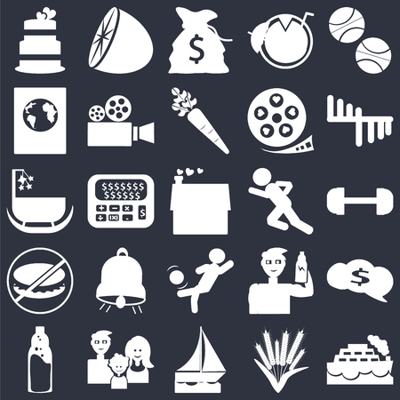 Set Of 25 simple editable icons such as Ship, Gym weight, Bar Chart, Citrus fruits, Plastic water bottle, Video camera, Protein container, Cradle on black background, web UI icon pack