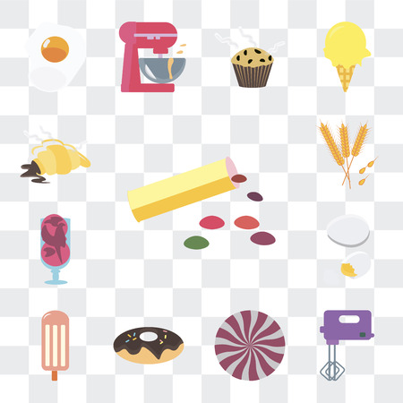 Set Of 13 simple editable icons such as Bonbon, Mixer, Sweet, Donut, Ice cream, Egg, Wheat, Croissant on transparent background Illustration