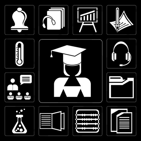 Set Of 13 simple editable icons such as Mortarboard, Copy, Abacus, Open book, Flask, Folders, Presentation, Headset, Thermometer on black background