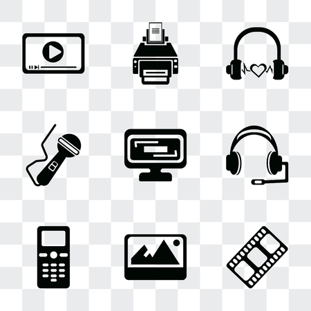 Set Of 9 simple transparency icons such as Film strip black, Image with shadow interface, Mobile phone, Headphones, Screen in Microphone voice tool, Headphone black shape, Printer print