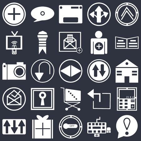 Set Of 25 simple editable icons such as Pointing up arrow, Keyboard, Reading book, Wrapped gift, Key up, Calculator, Undo Arrow, web UI icon pack, pixel perfect