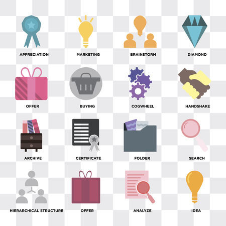 Set Of 16 icons such as Idea, Analyze, Offer, Hierarchical structure, Search, Appreciation, Archive, Cogwheel on transparent background, pixel perfect