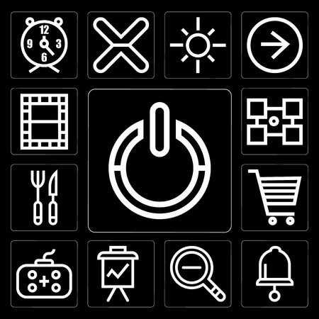 Set Of 13 simple editable icons such as Power, Bell, Zoom out, Presentation, Gamepad, Shopping cart, Cutlery, Layout, Video on black background Illustration