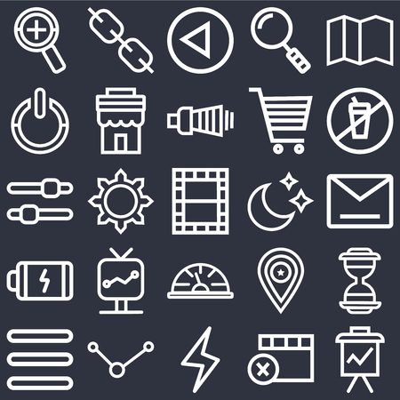 Set Of 25 icons such as Presentation, Remove, Lightning, Share, Menu, Prohibition, Moon, Speedometer, Battery, Power, Left arrow, Link on black background, web UI editable icon pack