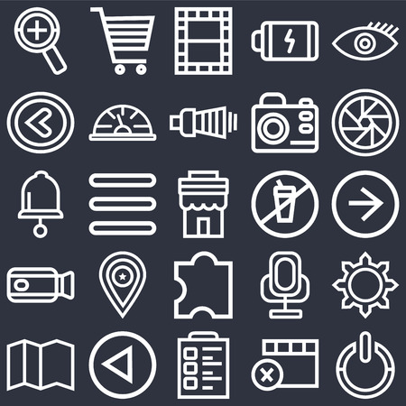 Set Of 25 icons such as Power, Remove, Padnote, Left arrow, Map, Shutter, Prohibition, Puzzle, Video camera, Video, Shopping cart on black background, web UI editable icon pack