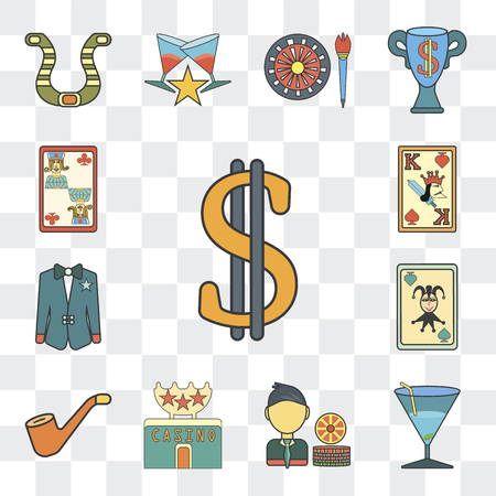 Set Of 13 simple editable icons such as Dollar, Martini, Gambler, Casino, Smoker, Suit, King of spades, Jack clubs on transparent background Ilustracja