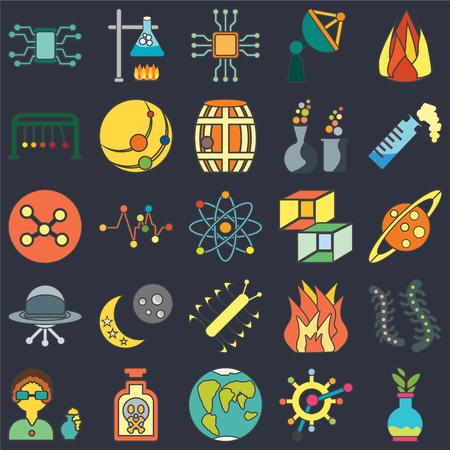 Set di 25 icone come pallone, organismo, pianeta terra, veleno, scienziato, provetta, cubo, batteri, ufo, culla di Newton, microchip, bruciatore su sfondo nero, pacchetto di icone modificabile dall'interfaccia utente web Vettoriali