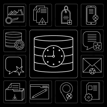 Set Of 13 simple editable icons such as Database, Notebook, Placeholder, Browser, File, Mail, Speech bubble, Database on black background