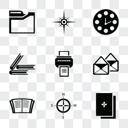 Set Of 9 simple transparency icons such as Exam, Compass, Open book, Email, Printer, Book, Clock, Folders, can be used for mobile, pixel perfect vector icon pack on transparent background