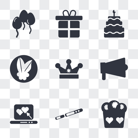 Set Of 9 simple transparency icons such as Romantic muffin, Sax, Laptop with a Heart, Amplifier, King crown, Mistletoe Leaves, Five birthday cake, Give Gift, Floating balloons, can be used for