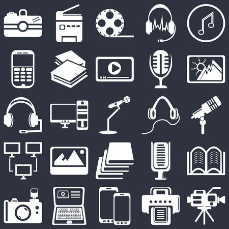 Set Of 25 simple editable icons such as Musical note, Printer, Image, Laptop, Reflex photo camera, Hardbound book variant, Computer and monitor, web UI icon pack, pixel perfect Ilustrace