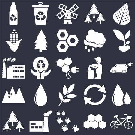 Set Of 25 simple editable icons such as Bicycle, Electric Car, Growing Plant, Recycle bin, Forest, Pine, Recycling, Eco factory on black background, web UI icon pack
