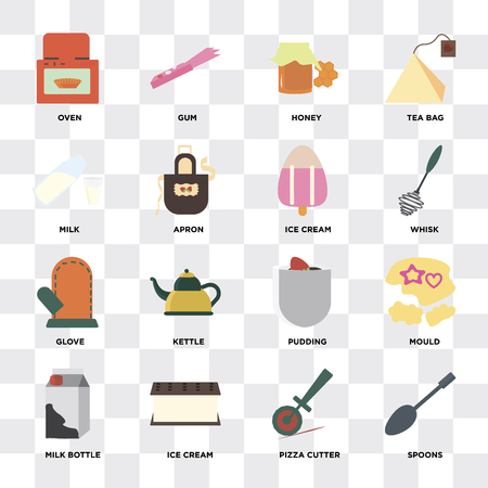 Set Of 16 icons such as Spoons, Pizza cutter, Ice cream, Milk bottle, Mould, Oven, Milk, Glove on transparent background, pixel perfect