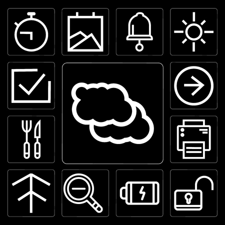 Set Of 13 simple editable icons such as Cloud, Unlock, Battery, Zoom out, Up arrow, Printer, Cutlery, Right Correct on black background