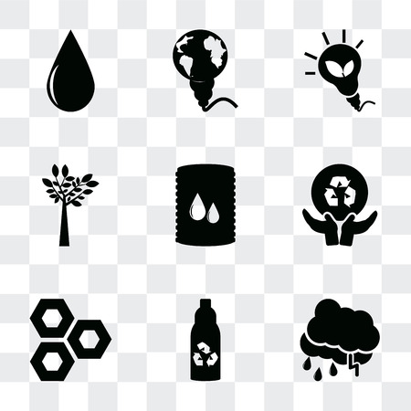 Set Of 9 simple transparency icons such as Raining, Recycled bottle, Eco cell, Global recycling, Bio fuel, Tree, energy, Energy globe, Drop, can be used for mobile, pixel perfect vector icon pack