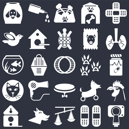 Set Of 25 icons such as Magnetic resonance, Plaster, Scale, Dog, Birdhouse, Lung, Footprint, Collar, Cat, Bird, Dog food, Drops on black background, web UI editable icon pack