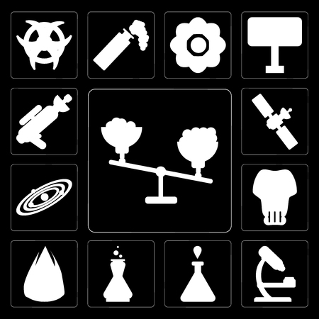 Set Of 13 simple editable icons such as Scale, Microscope, Test tube, Chemistry, Heat, Skull, Solar system, Satellite, Blaster on black background