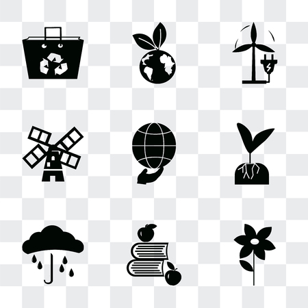 Set Of 9 simple transparency icons such as Flower, Apple and books, Raindrop on a hand, Plant root, Global, Wind mills, Eco Plug, energy, Recycled bag, can be used for mobile, pixel perfect
