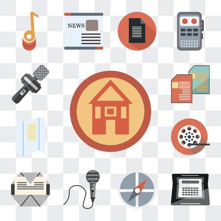 Ensemble de 13 icônes modifiables simples telles que domestique, écrivain, points cardinaux, enregistreur vocal, publipostage, bobine de film, lignes de texte, reportage sur fond transparent Vecteurs