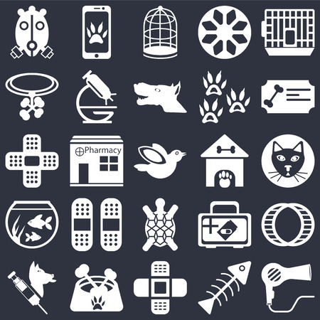 Set Of 25 icons such as Dryer, Fishbone, Bandage, Dog food, Veterinarian, Certificate, Kennel, Turtle, Fish bowl, Collar, Cage, Smartphone on black background, web UI editable icon pack