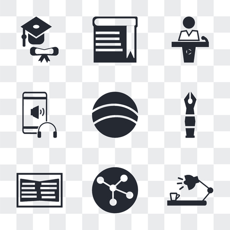 Set Of 9 simple transparency icons such as Study lamp, Molecular configuration, Open book, Fountain pen, Basketball, Audio Book, Conference hall, Book with bookmark, Graduation, can be used for