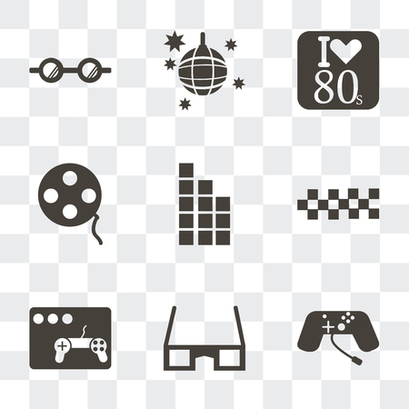 Set Of 9 simple transparency icons such as Game console, 3d glasses, Video game, Cubes, Tetris, Film reel, Eighties, Disco ball, Eyeglasses, can be used for mobile, pixel perfect vector icon pack on