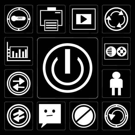 Set Of 13 simple editable icons such as On off power button, Rotate circle, Prohibition Circle, Chat speech bubbles, o Arrow, User Avatar, Press play Full circle on black background