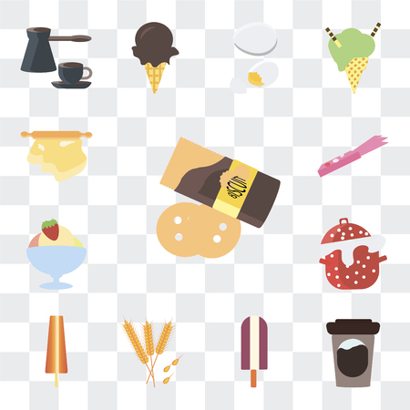 Set Of 13 simple editable icons such as Pie, Tea, Ice cream, Wheat, Cooking pot, Gum, Rolling pin on transparent background