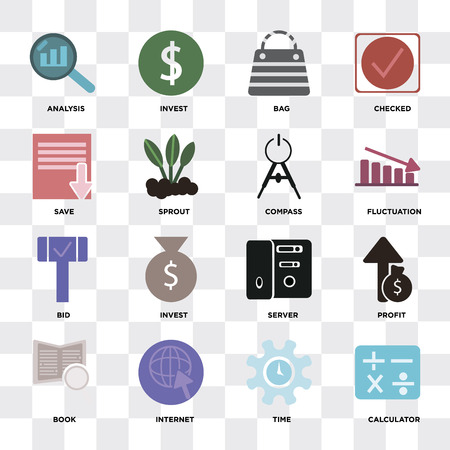 Set Of 16 icons such as Calculator, Time, Internet, Book, Profit, Analysis, Save, Bid, Compass on transparent background, pixel perfect Stok Fotoğraf - 112024158