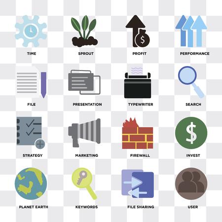 Set di 16 icone come utente, condivisione file, parole chiave, pianeta terra, investire, tempo, file, strategia, macchina da scrivere su sfondo trasparente, pixel perfetto
