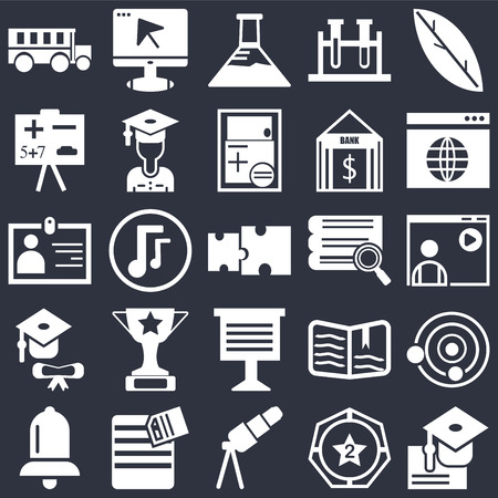 Set Of 25 simple editable icons such as Quill, Winner medal, Surfing the net, Eraser, Alarm bell, Atomic Structure, Musical note, web UI icon pack, pixel perfect