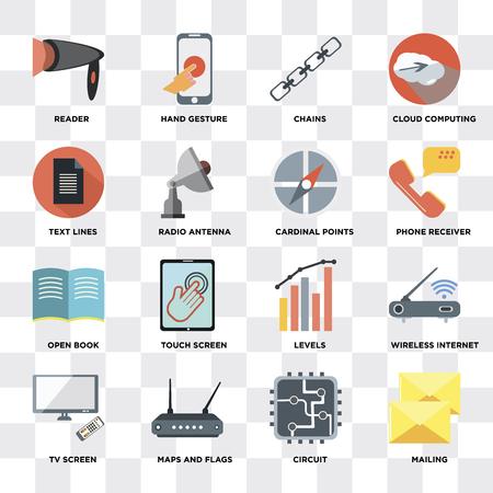 Ensemble de 16 icônes telles que publipostage, circuit, cartes et drapeaux, écran de télévision, Internet sans fil, lecteur, lignes de texte, livre ouvert, points cardinaux sur fond transparent, pixel parfait Vecteurs