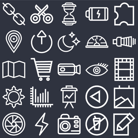 Set Of 25 icons such as Edit, Prohibition, Photo camera, Lightning, Shutter, Volume, Visible, Presentation, Settings, Placeholder, Hourglass, Cut on black background, web UI editable icon pack