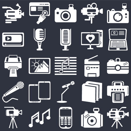 Set Of 25 simple editable icons such as Video camera, Camera, Laptop, Images interface, Mic, Book of black cover, Printer printing squares on background, web UI icon pack Ilustração