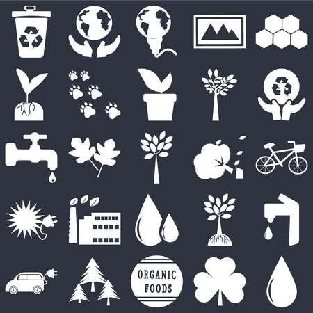 Set Of 25 simple editable icons such as Drop, Bicycle, Global recycling, Save The Earth, Electric Car, Footprint, Tree and roots, Water tap on black background, web UI icon pack Иллюстрация