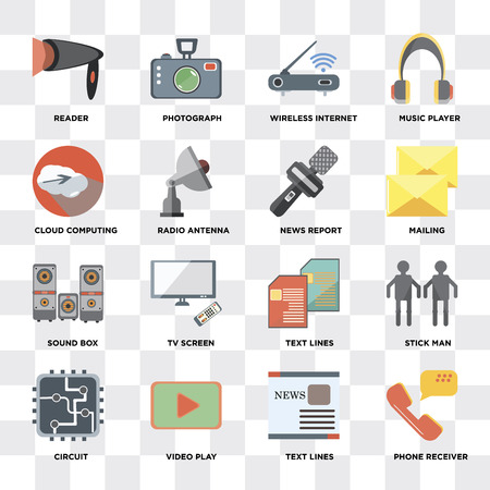 Set Of 16 icons such as Phone receiver, Text lines, Video play, Circuit, Stick man, Reader, Cloud computing, Sound box, News report on transparent background, pixel perfect