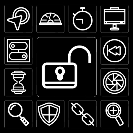 Set Of 13 simple editable icons such as Unlock, Zoom, Link, Shield, Search, Shutter, Hourglass, Rewind, Switch on black background