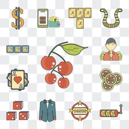Set Of 13 simple editable icons such as Cherry, Slot machine, Bonus, Suit, Gambler, Ace of hearts, Croupier on transparent background Vector Illustration