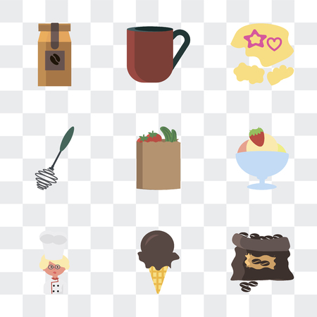 Set Of 9 simple transparency icons such as Coffee grain, Ice cream, Baker, Bag, Whisk, Mould, cup, bag, can be used for mobile, pixel perfect vector icon pack on transparent Stock Illustratie