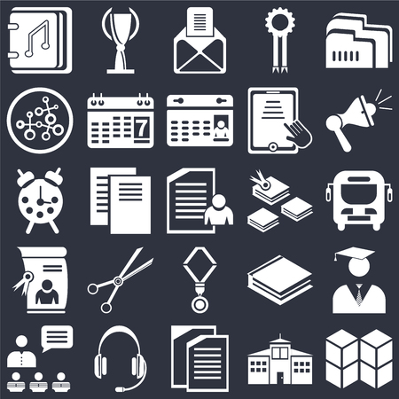 Set Of 25 icons such as Cubes, School, Copy, Headset, Presentation, Megaphone, Open book, Medal, Diploma, Research, , Trophy on black background, web UI editable icon pack Ilustração