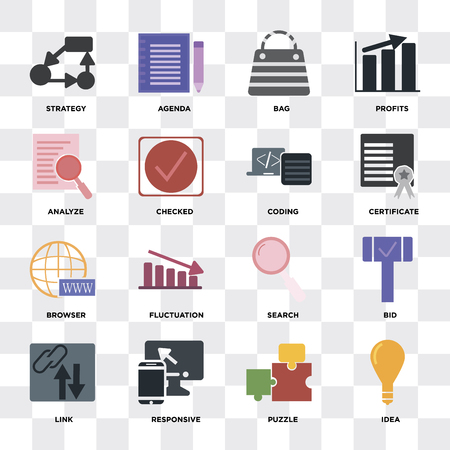 Set Of 16 icons such as Idea, Puzzle, Responsive, Link, Bid, Strategy, Analyze, Browser, Coding on transparent background, pixel perfect