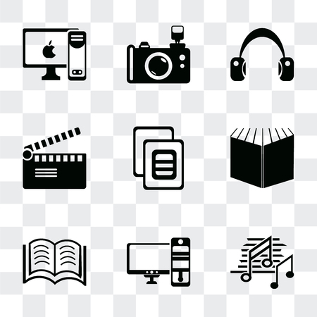 Set Of 9 simple transparency icons such as Music note black, Computer and monitor, Books couple, Open book black cover, Image variant, Movie clapper, Headphone Reflex photo camera, PC with